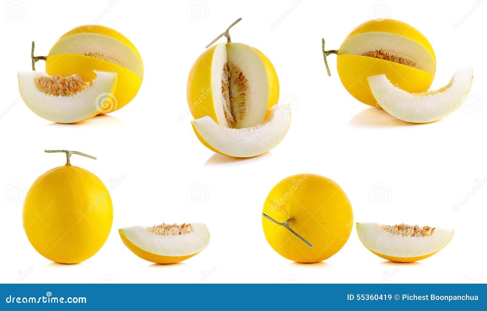 Cantalupo amarillo aislado en el fondo blanco