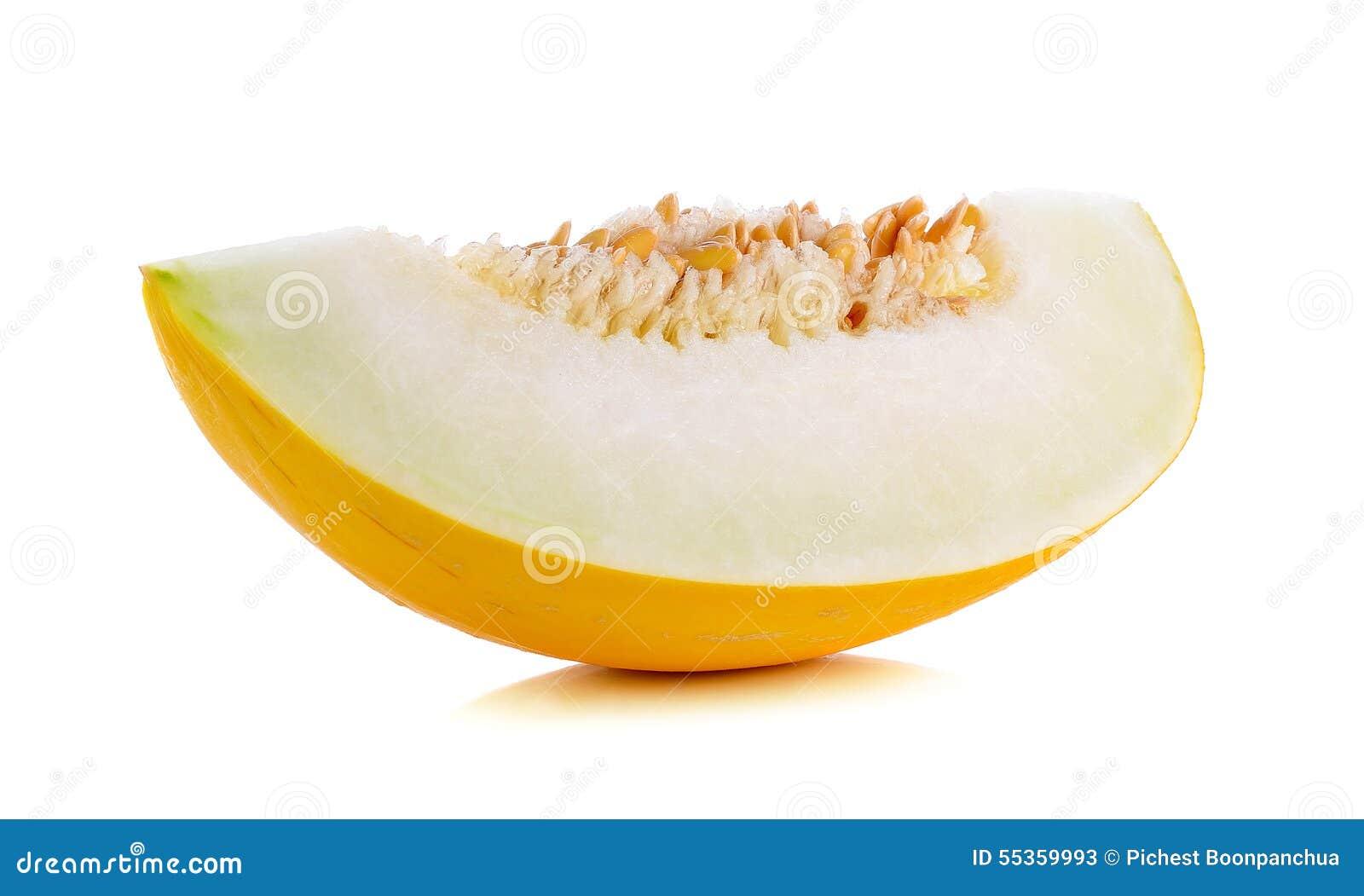 Cantalupo giallo isolato sui precedenti bianchi
