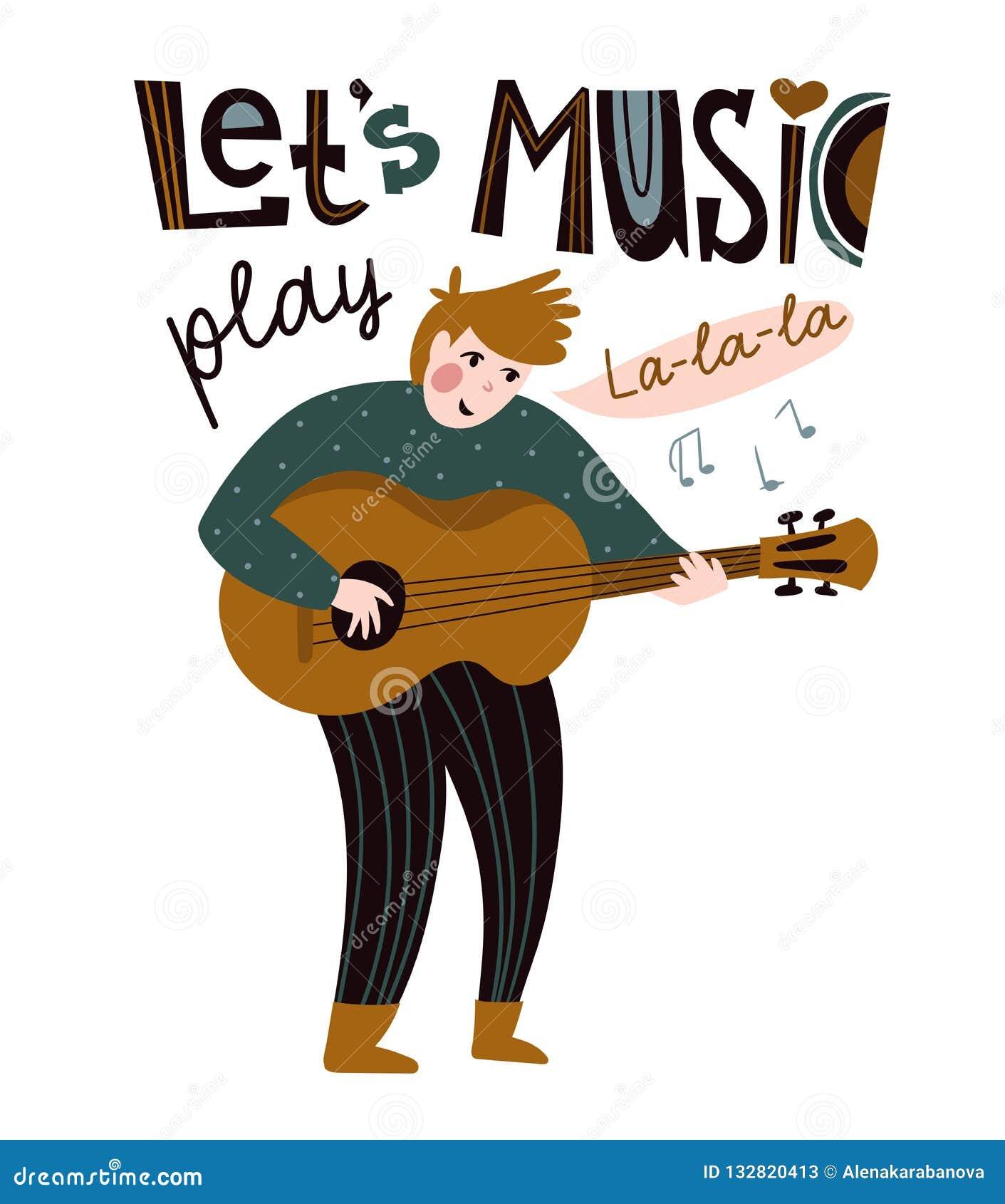 Cantante romántico con la guitarra Ejemplo del vector para el festival de música Diseño brillante del cartel Músico popular y étn