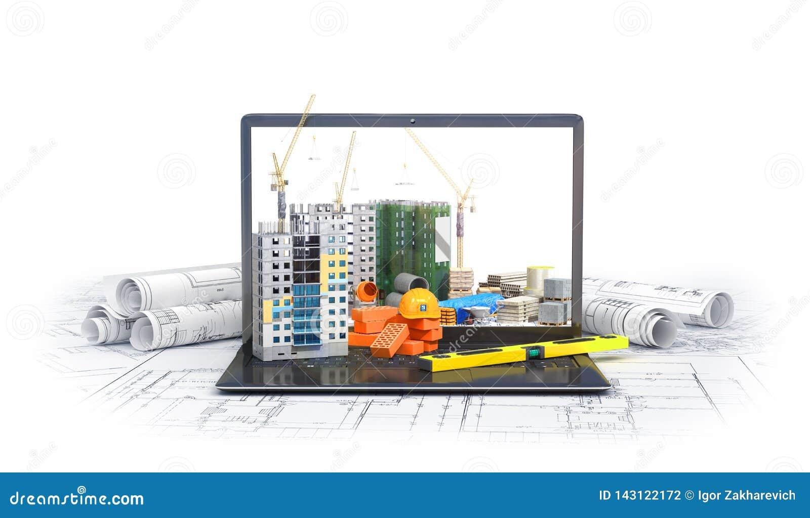 Canteiro de obras na tela de um laptop, arranha-céus, plano do desenho, materiais de construção