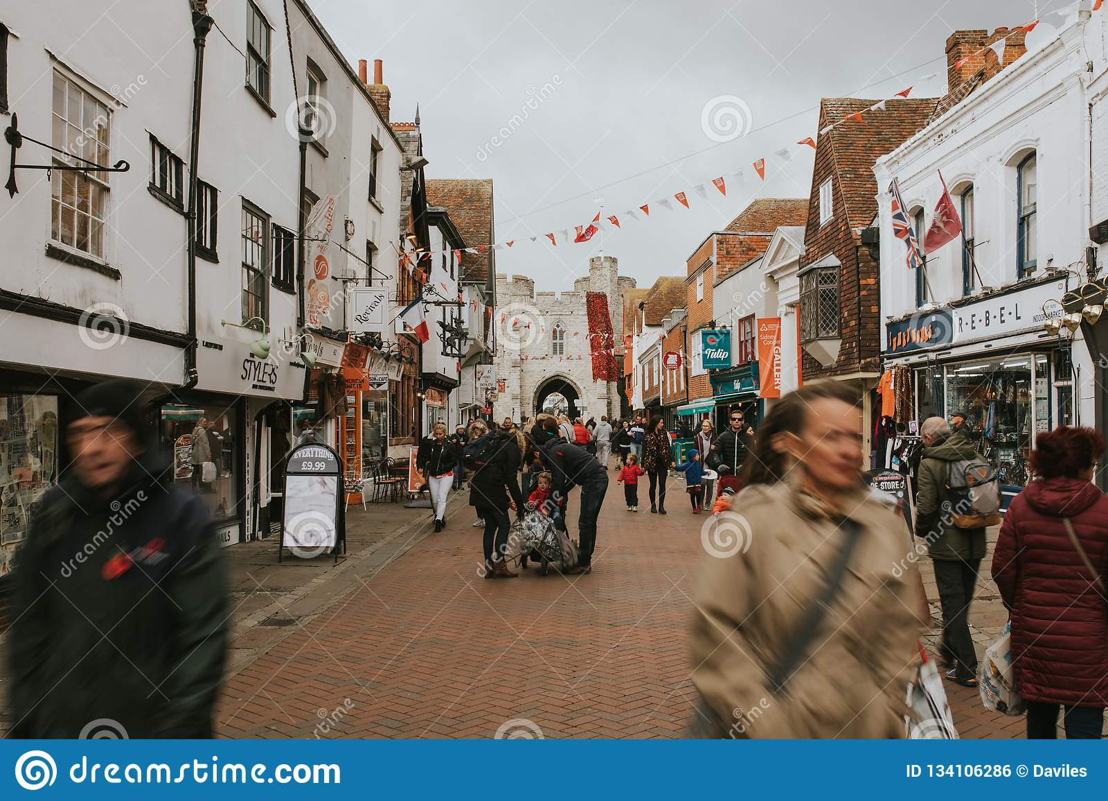 51b3b59f714f Canterbury Main Street And People Walking Along It. Editorial Photo ...