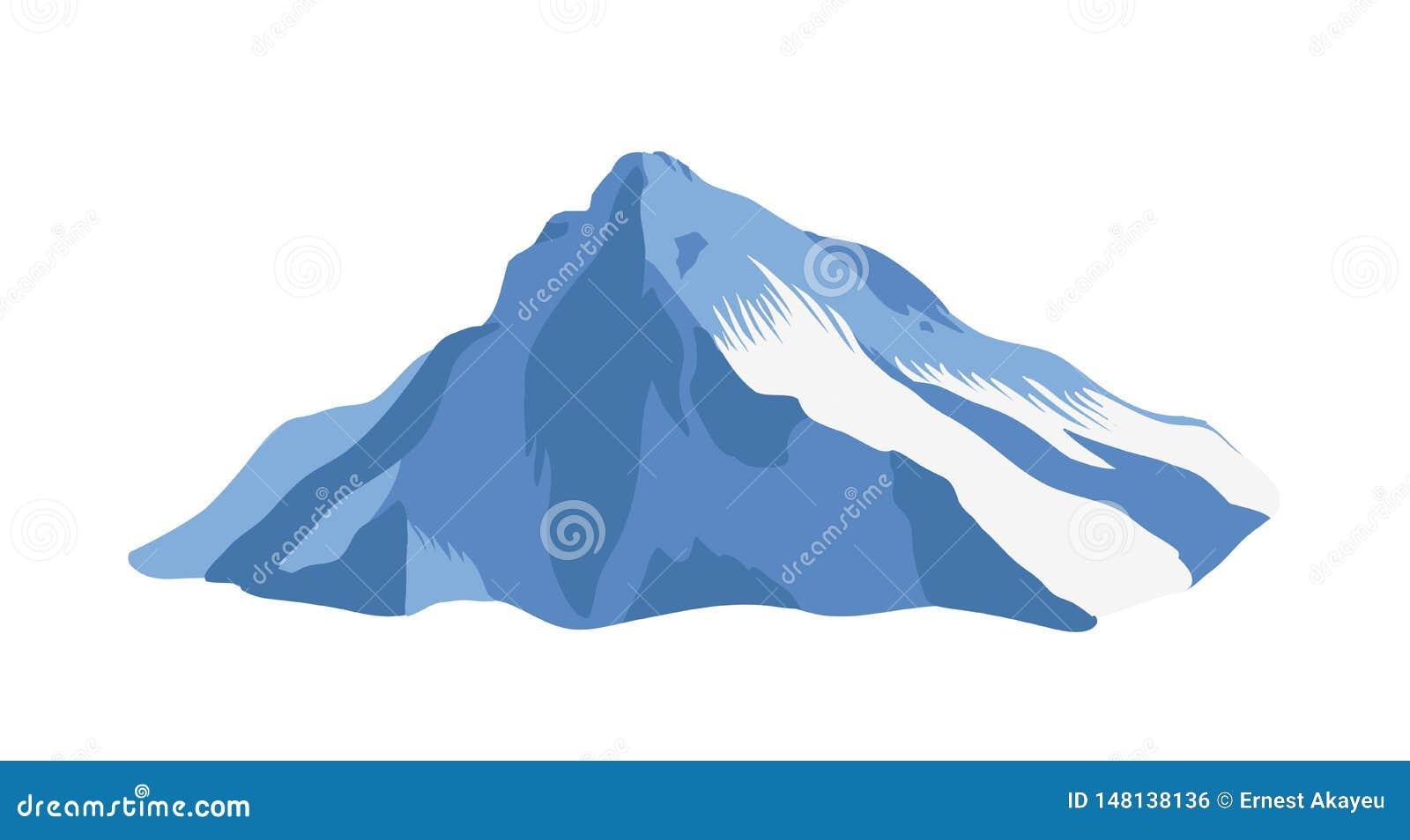 Canto de la montaña con el top o cumbre cubierta con el hielo aislado en el fondo blanco Acantilado o soporte para el turismo de