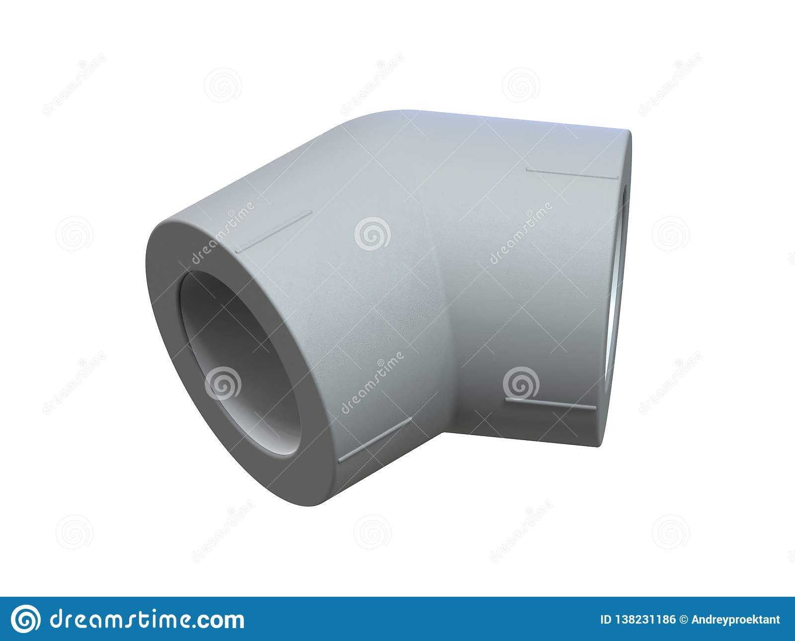 Canto 45 graus para as tubulações do polipropileno Imagem para anunciar os encaixes sondando rendição 3d