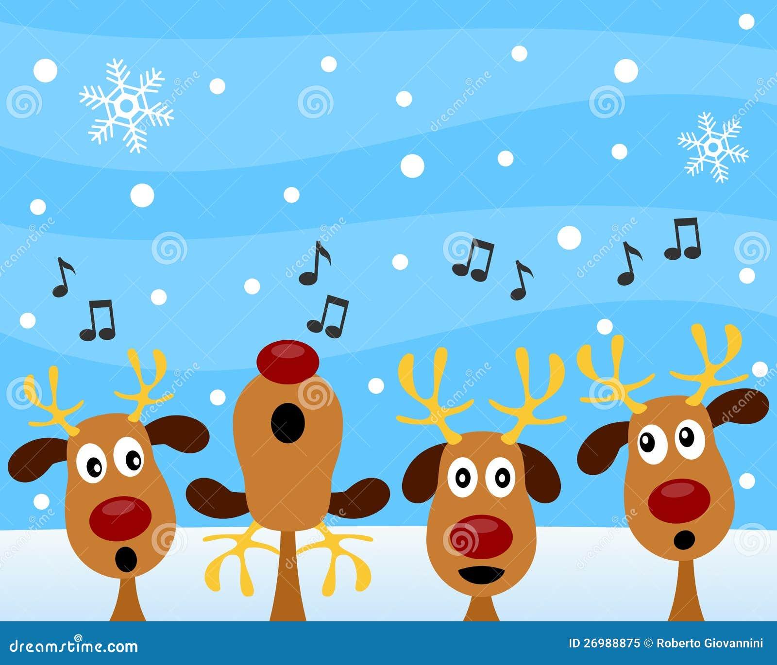 Canto natalizio di natale con la renna