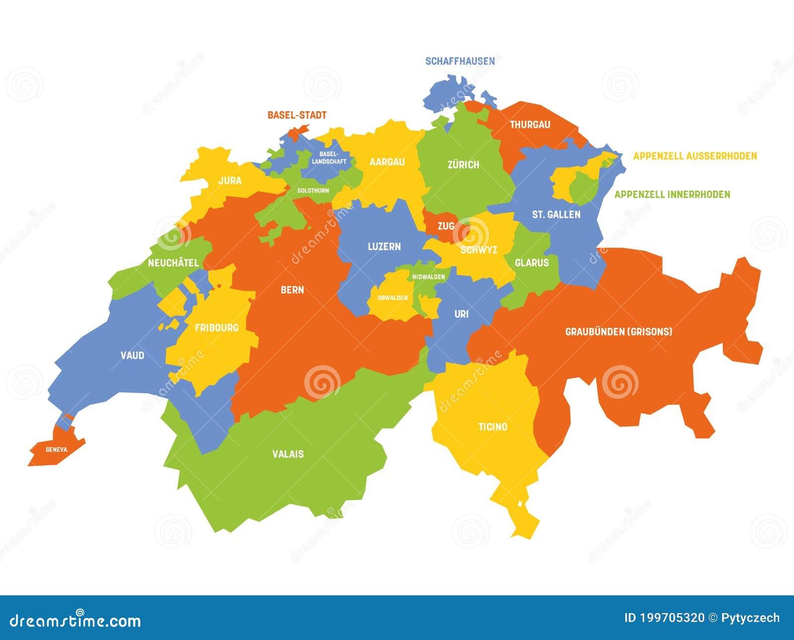 La Svizzera Cartina.Cantone Della Mappa Svizzera Illustrazione Vettoriale Illustrazione Di Politico Grafico 199705320