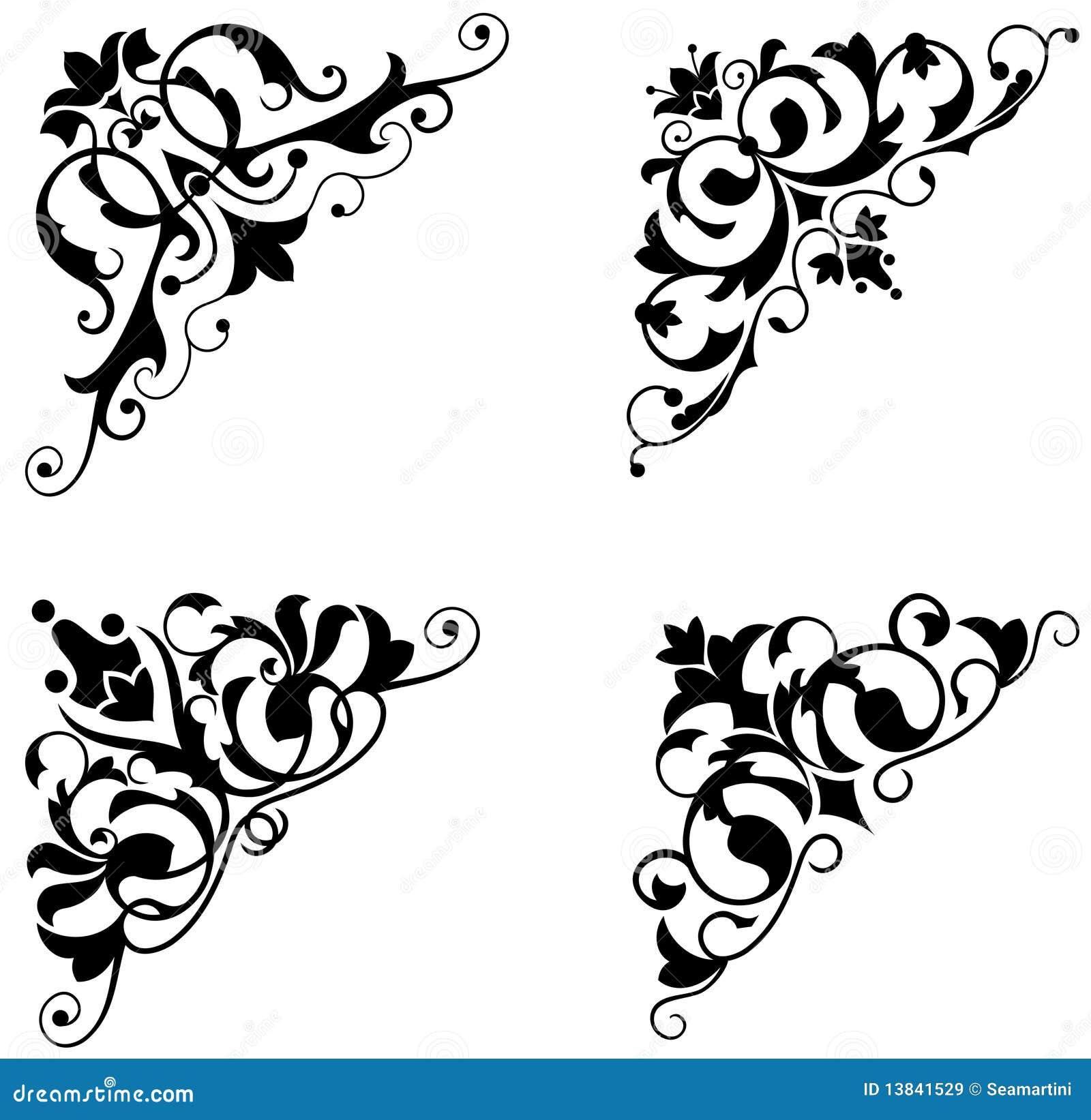 Black Flower 21st Century Op Art Set: Cantos Do Vintage Ilustração Do Vetor. Ilustração De
