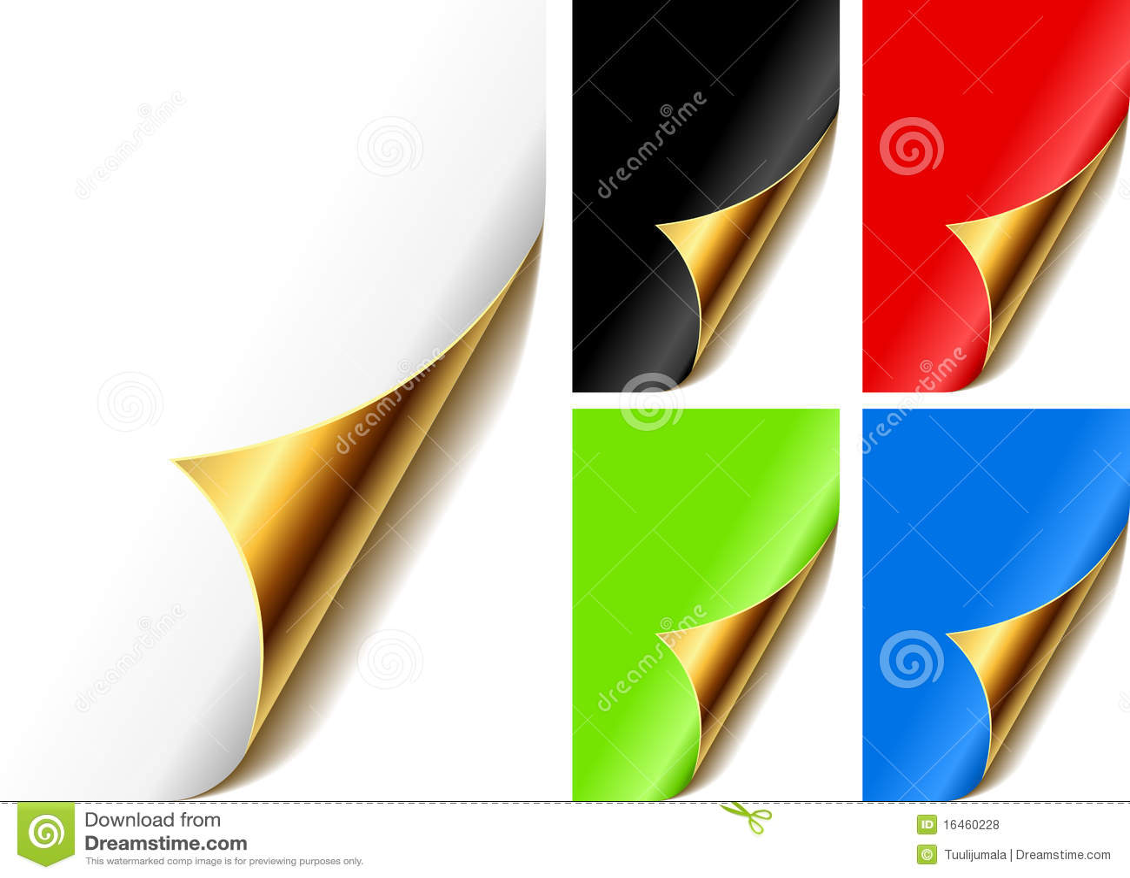 Cantos dourados ondulados da página