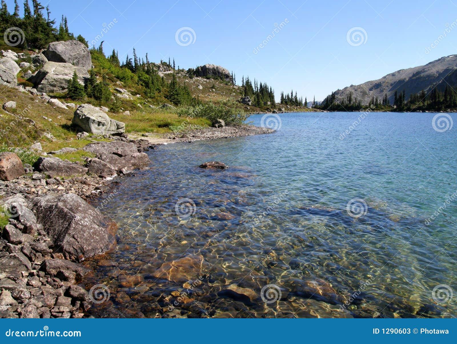 Cantos rodados en la orilla del lago ring