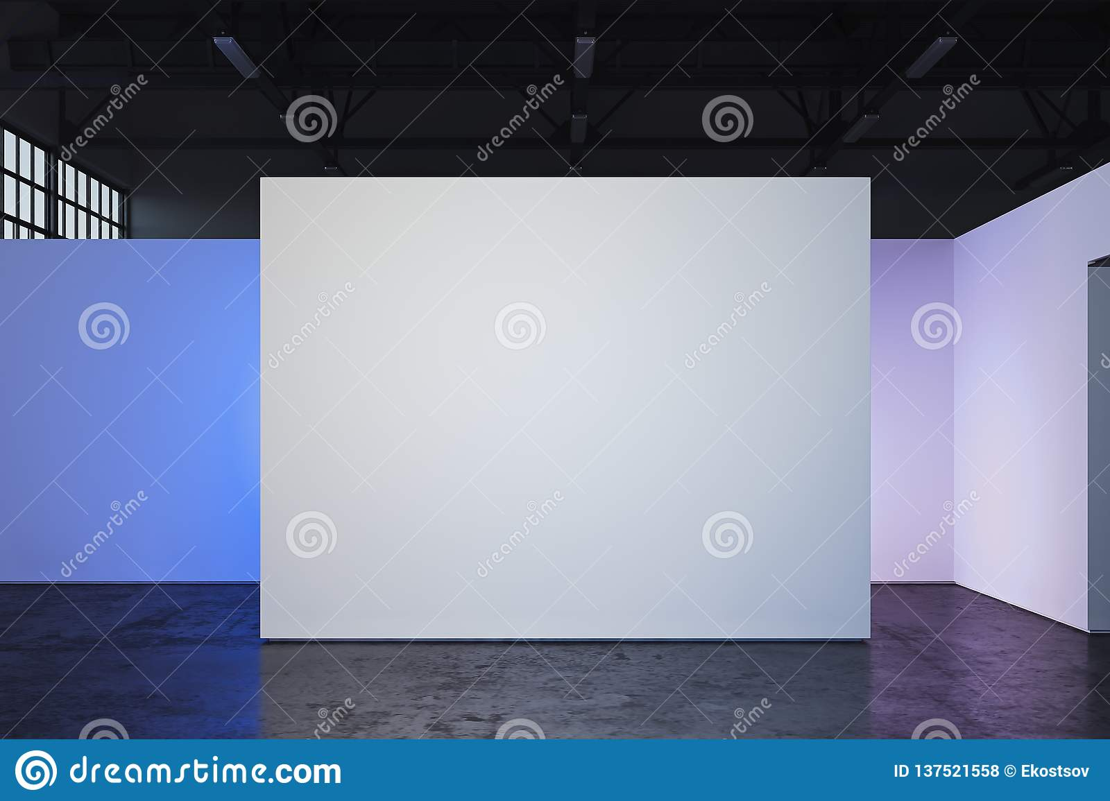 Canvas blank placard on white illuminated wall in showroom, 3d rendering.