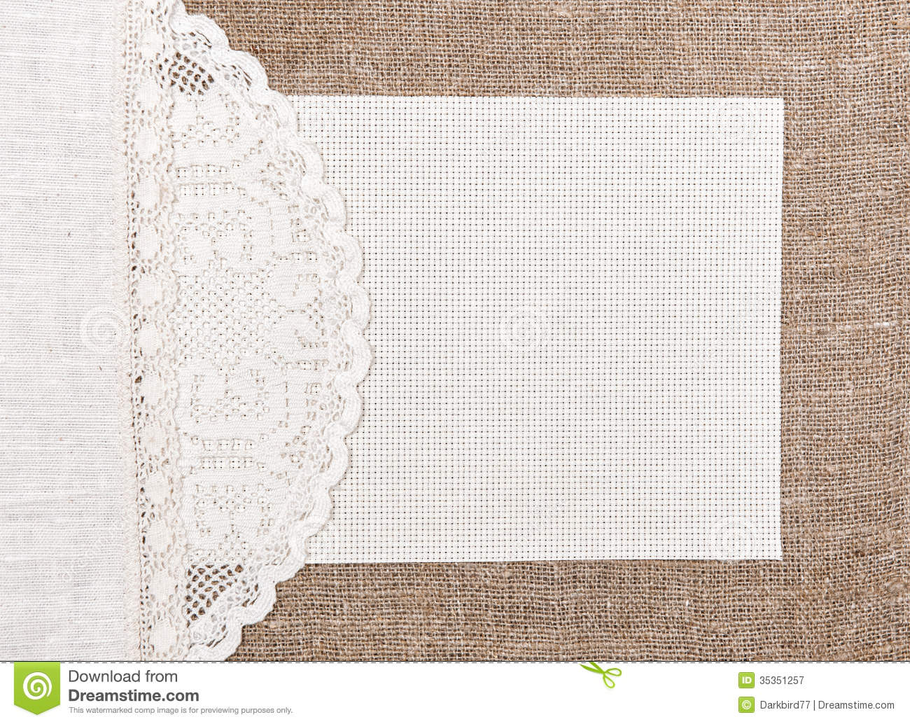 Canvas Card On Burlap With Lacy And Linen Cloth