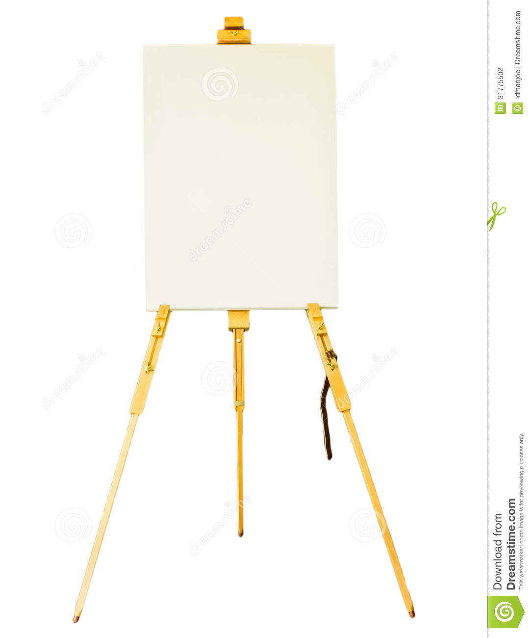 Canvas lay on the tripod paint stock photography image for White canvas to paint