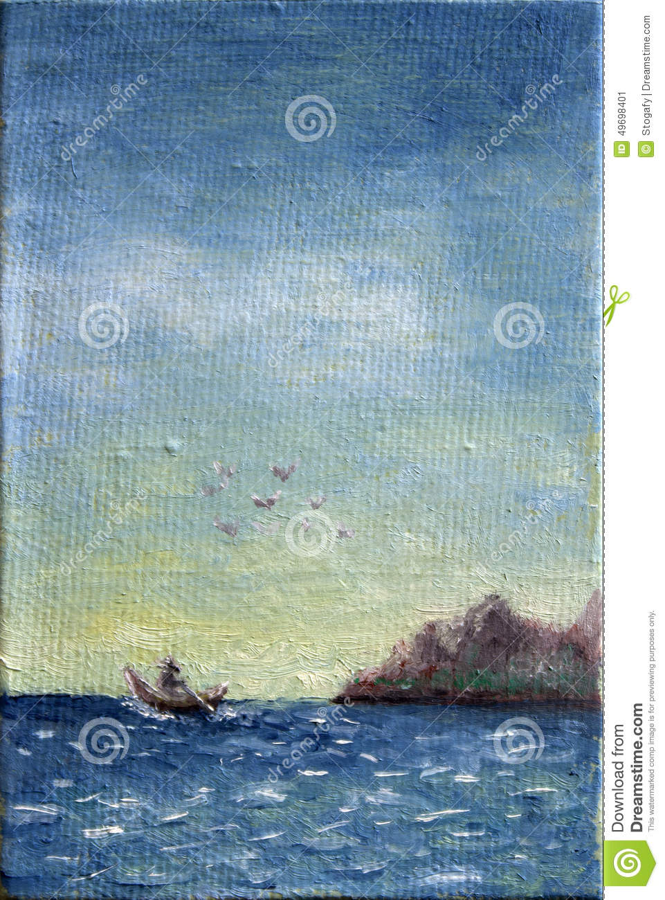 Canvas Oil Painting of Boat at Sea