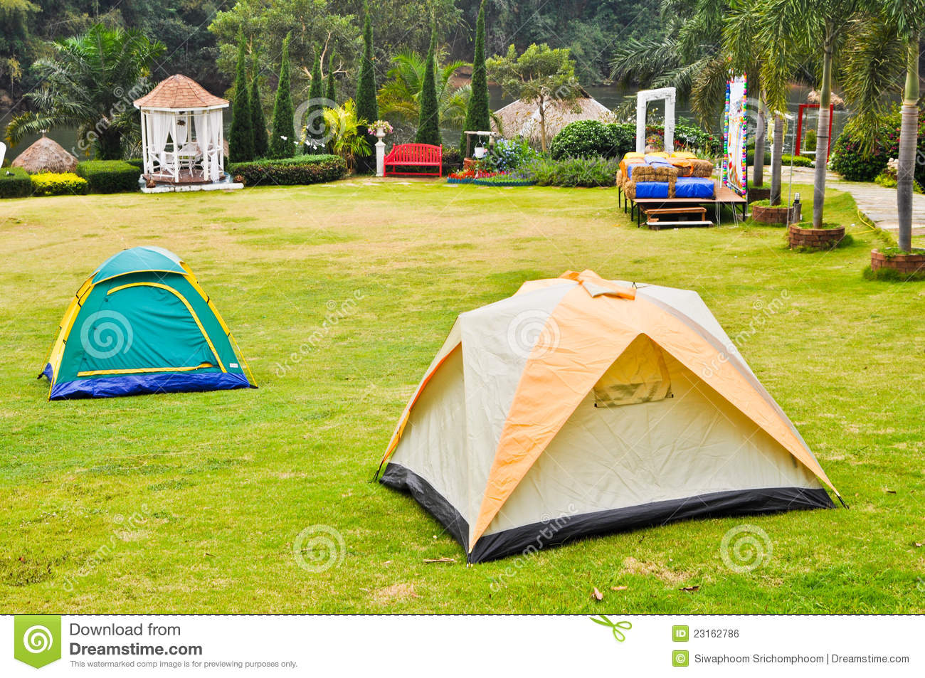 Canvas tent on lawn stock photo image of camping rest for Canvas tent plans