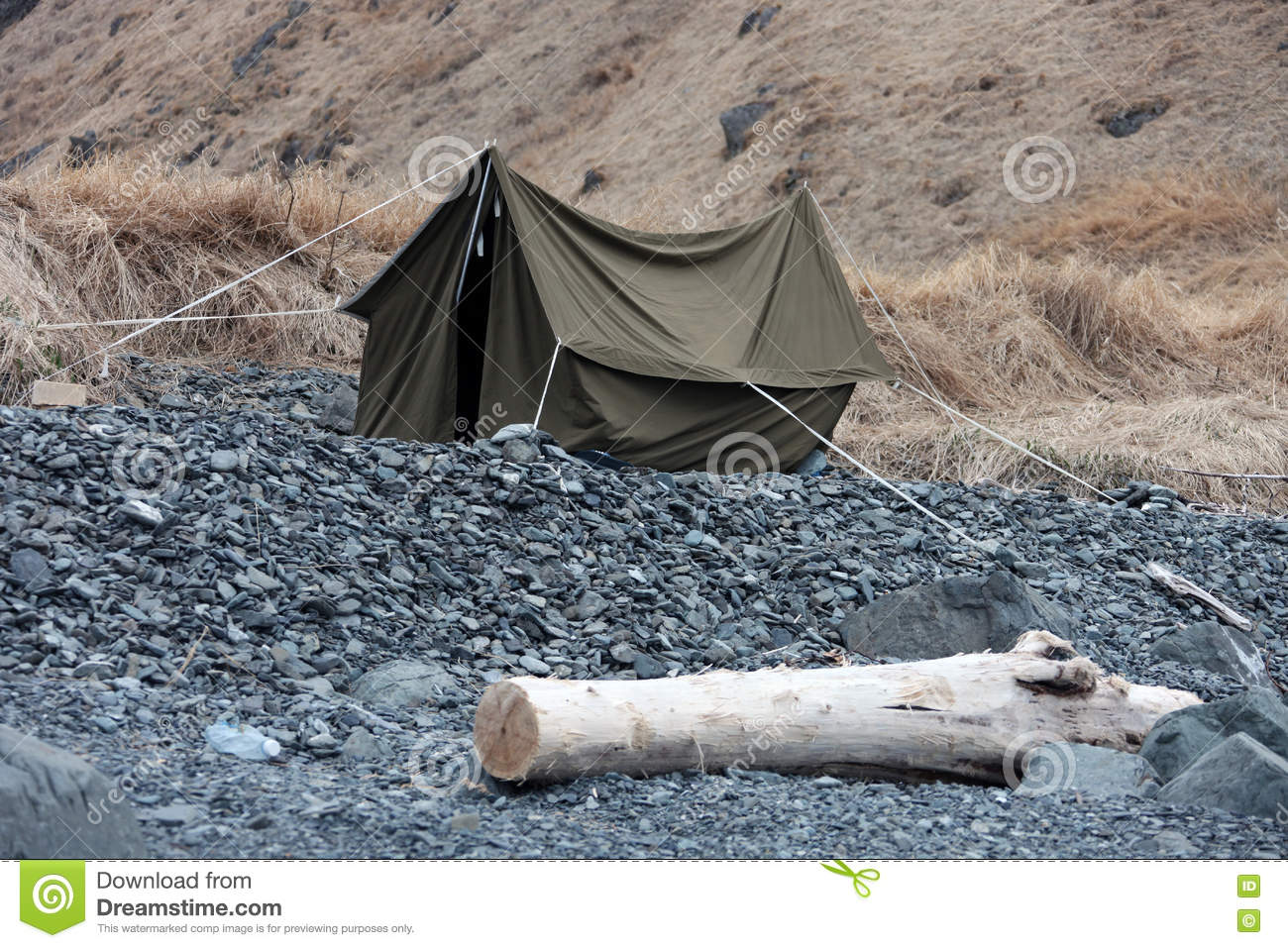 Canvas Tent On The Rocky Shore Stock Photo - Image of