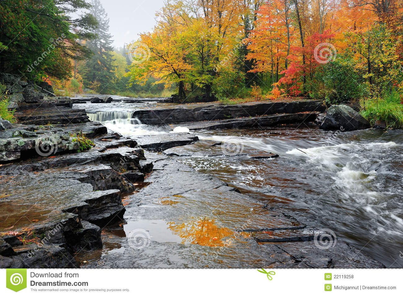 Autumn Leaves Flowing In September Rain >> Canyon Falls Michigan Autumn Waterfall Stock Photo - Image of stone, peaceful: 22119258