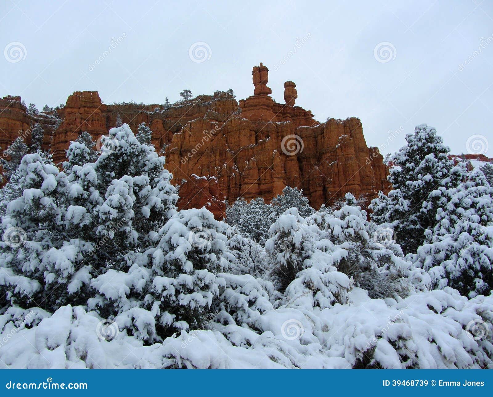 Canyon rouge couvert dans la neige, Utah