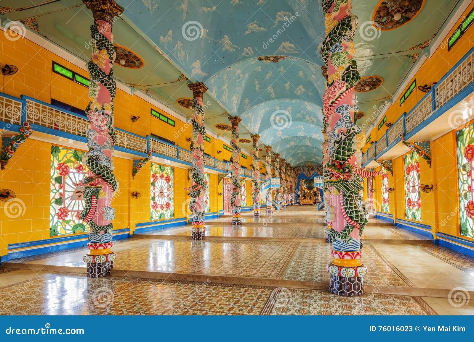 Cao Dai Holy See Temple Tay Ninh landskap, Vietnam