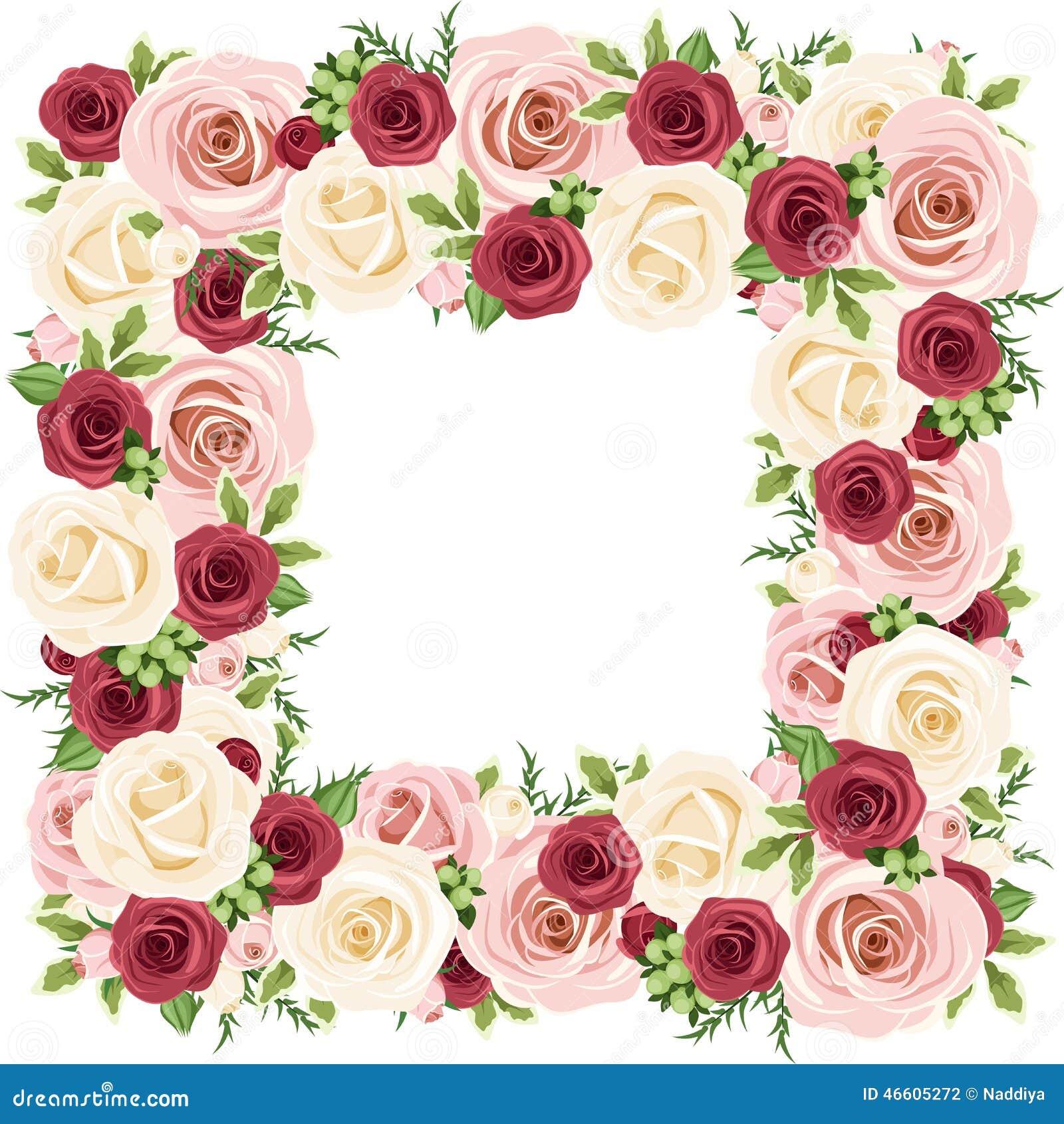 Capítulo con las rosas rojas, rosadas y blancas Ilustración del vector