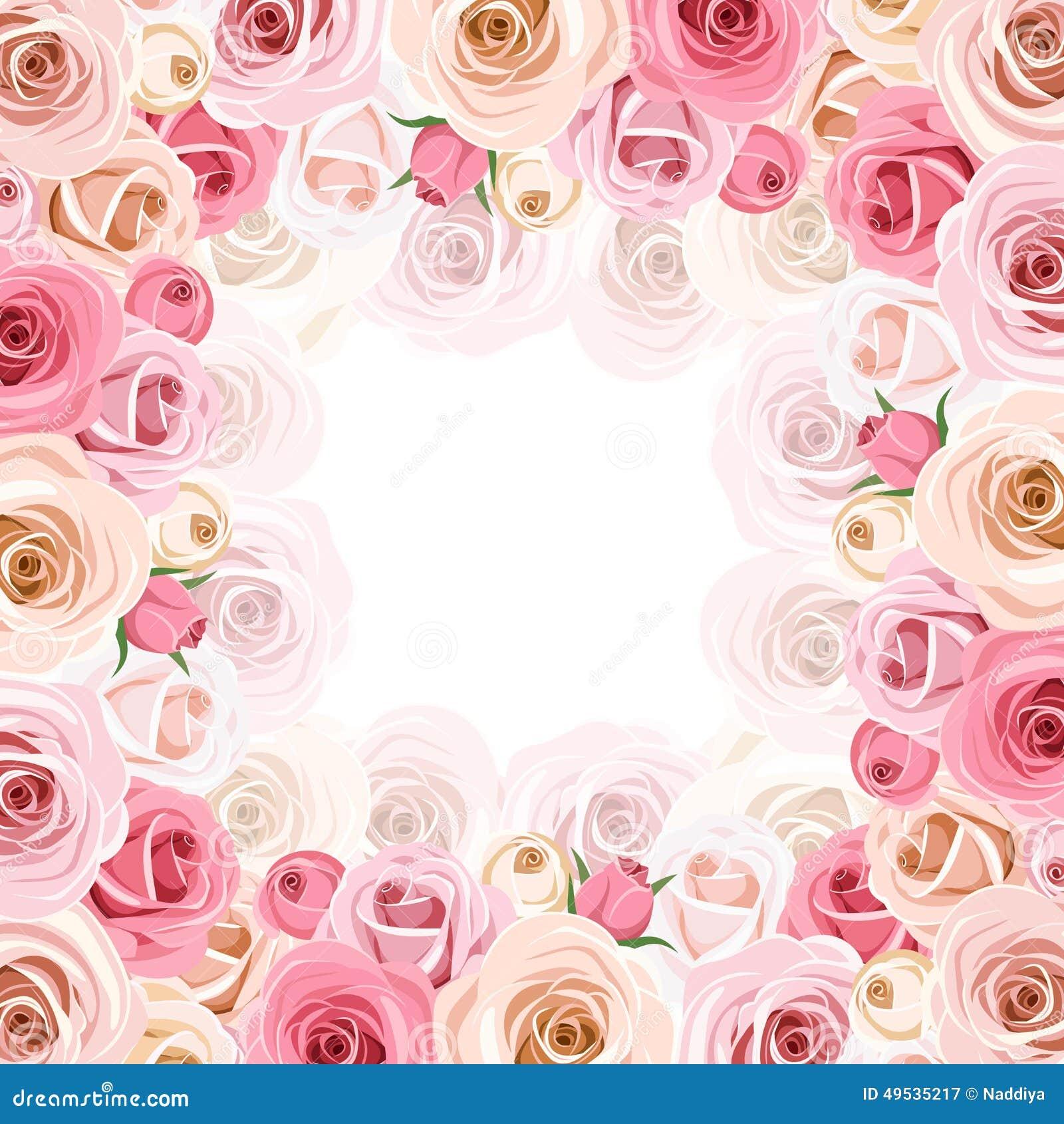 Capítulo con las rosas rosadas y blancas Vector EPS-10