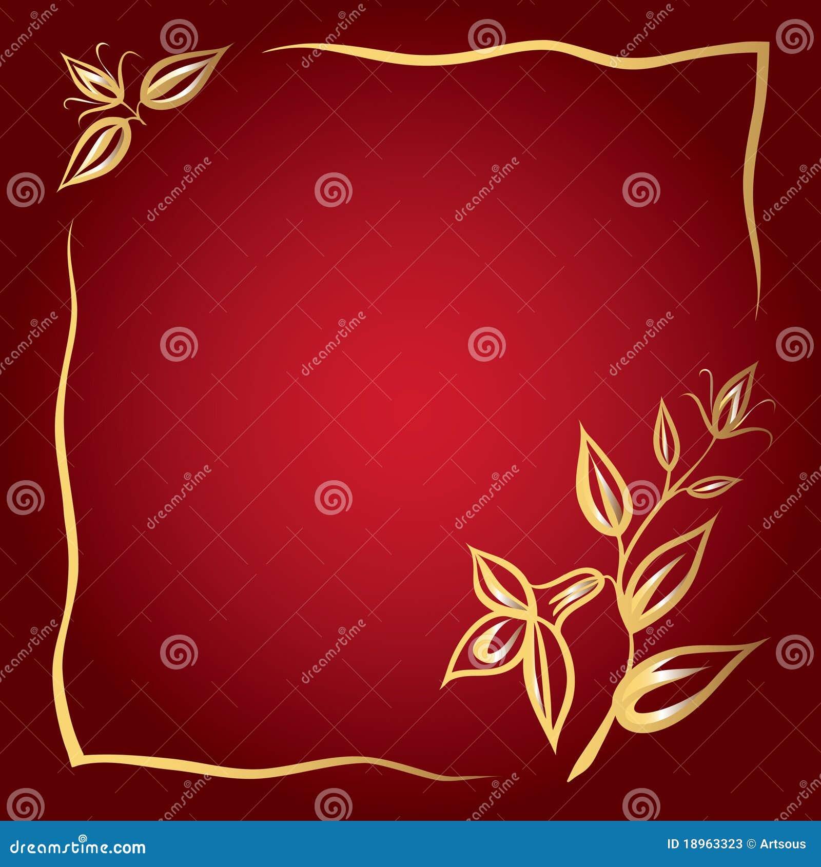 Capítulo de flores de oro en un fondo rojo