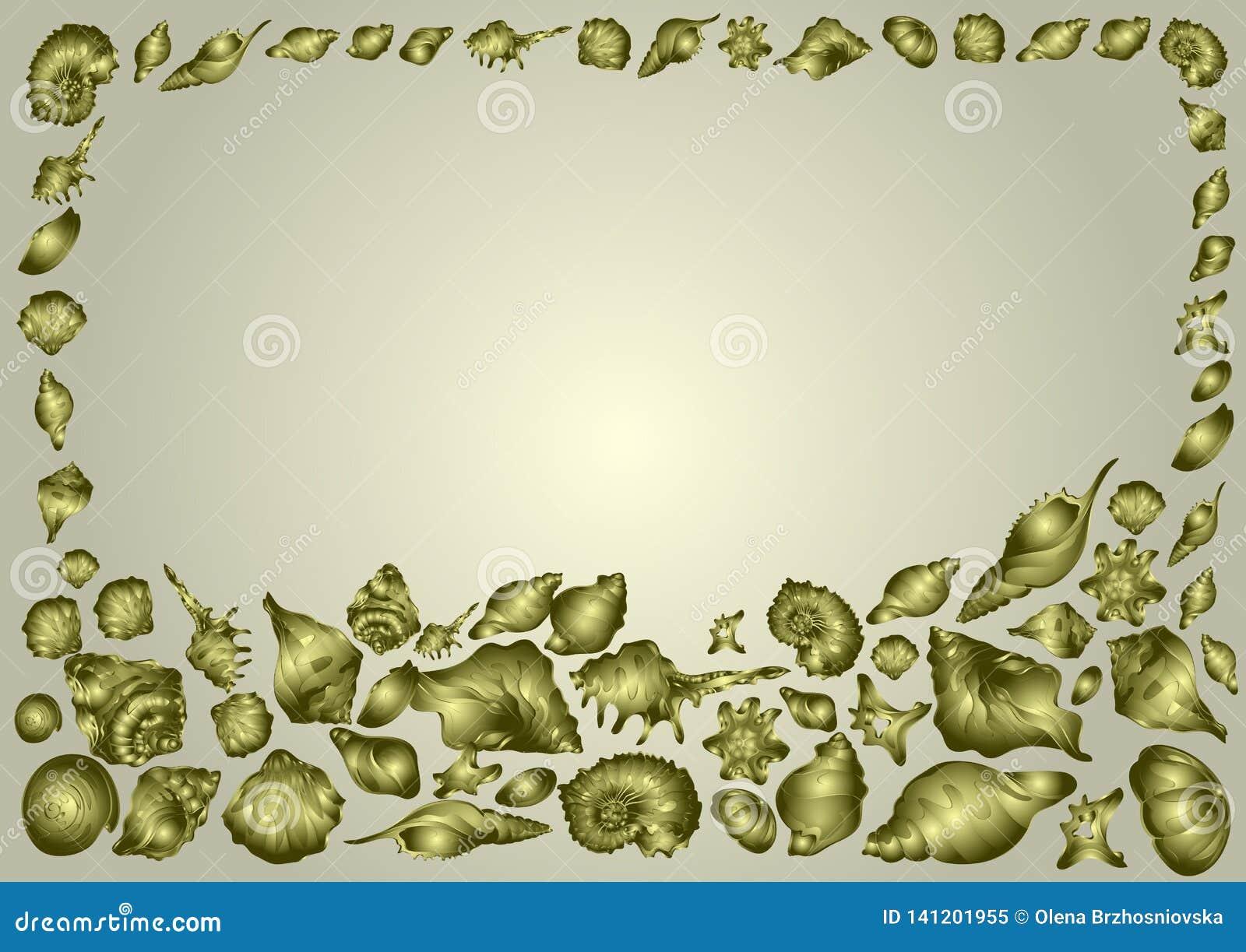 Capítulo de las cáscaras hermosas del mar de diversas formas en un fondo de oro, tarjeta elegante de la invitación