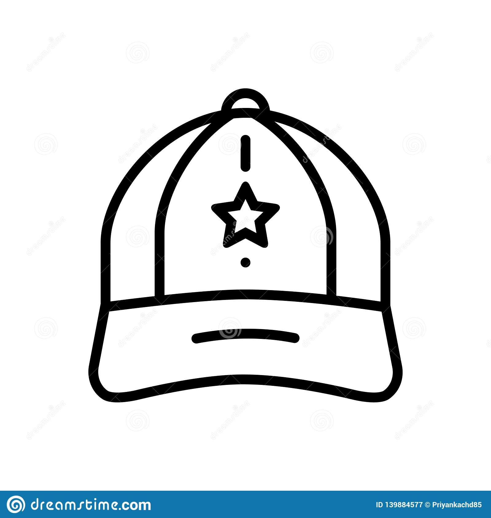 Black line icon for Cap, hat and worker