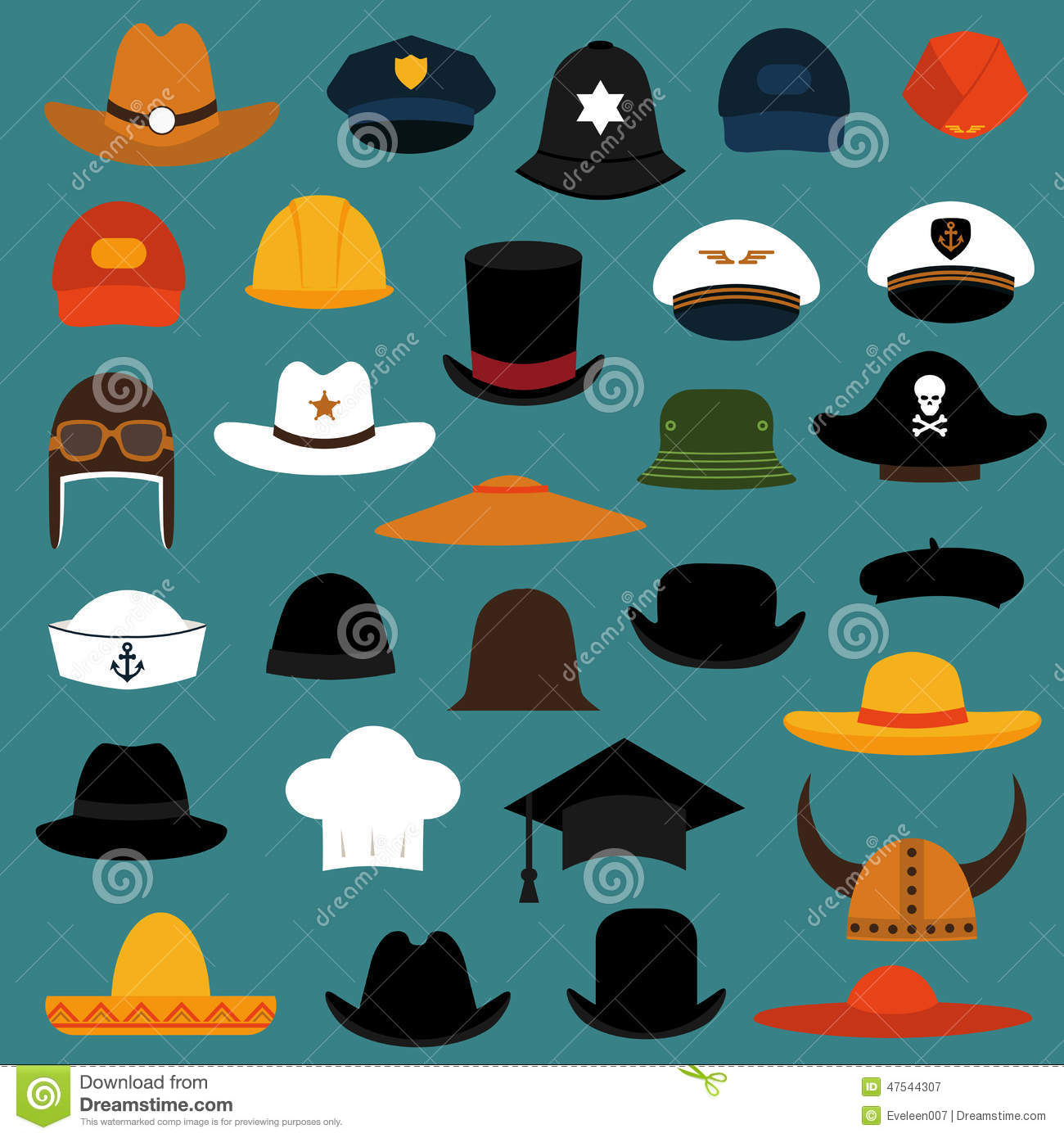 Cap and hat icons