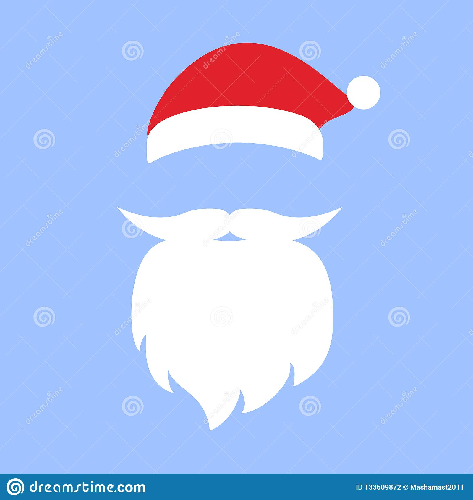 Cap And Mustache With A Beard Of Santa Claus Stock Vector