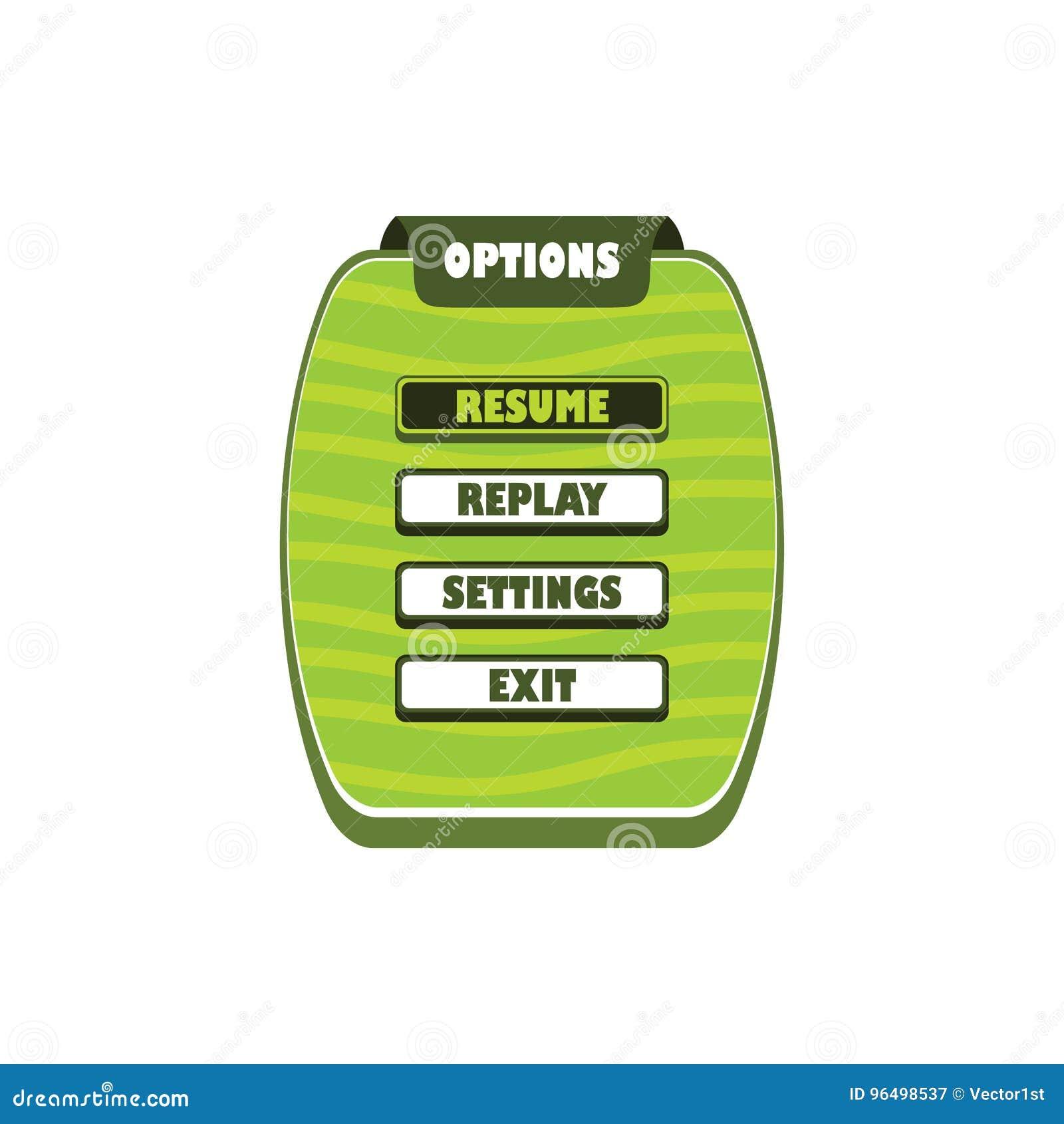 Capa del menú del activo del juego - símbolo de la muestra del icono del videojuego