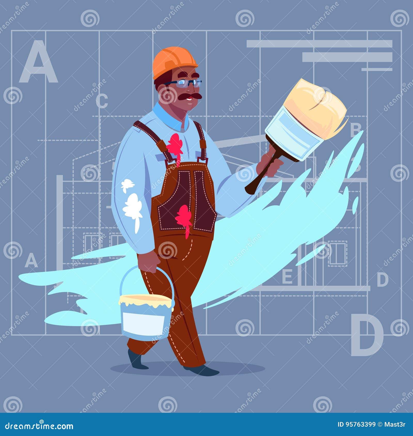 Capacete afro-americano de Wearing Uniform And do construtor do decorador de Hold Paint Brush do pintor dos desenhos animados