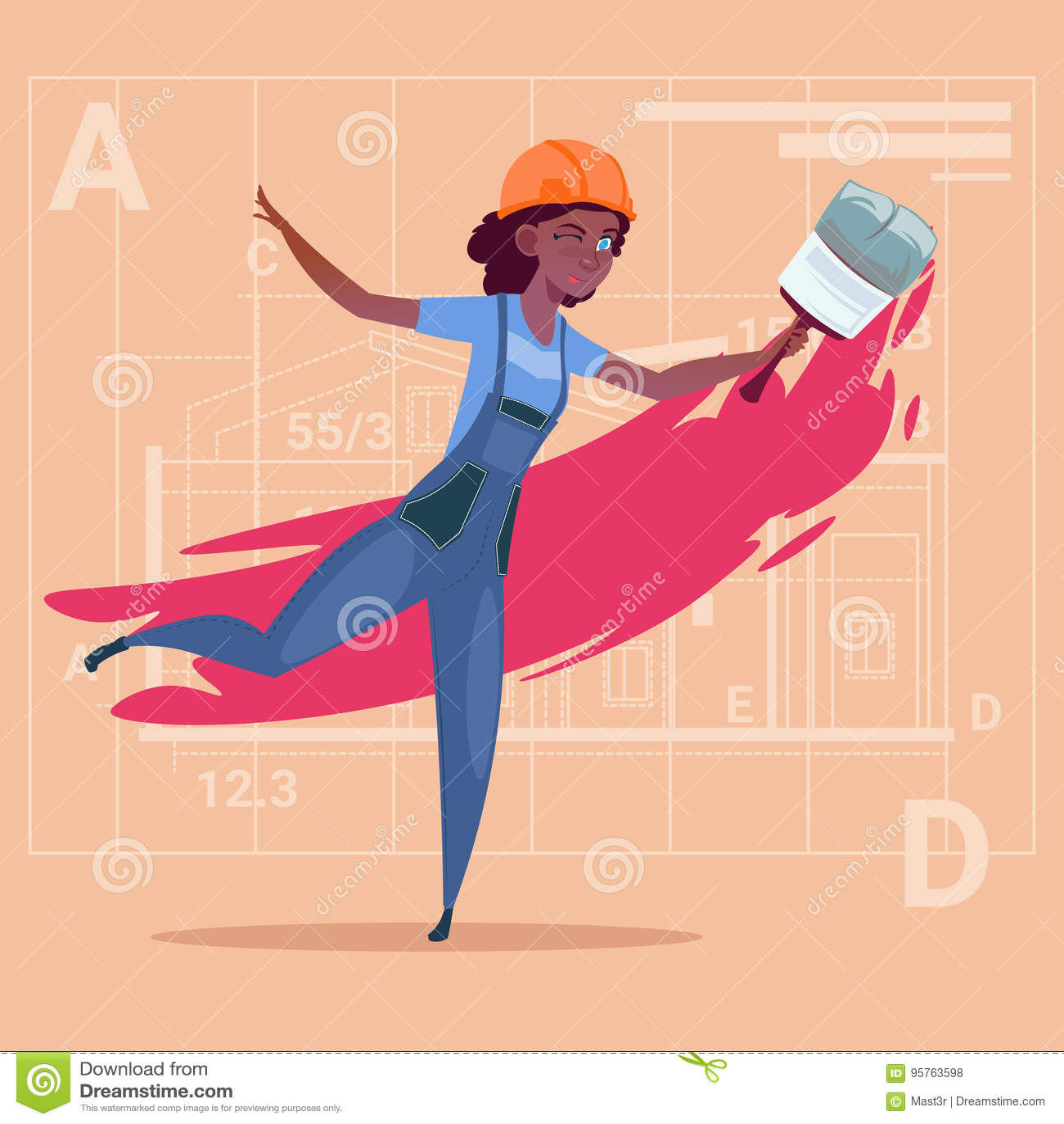 Capacete afro-americano de Wearing Uniform And do construtor do decorador de Hold Paint Brush do pintor fêmea dos desenhos animad