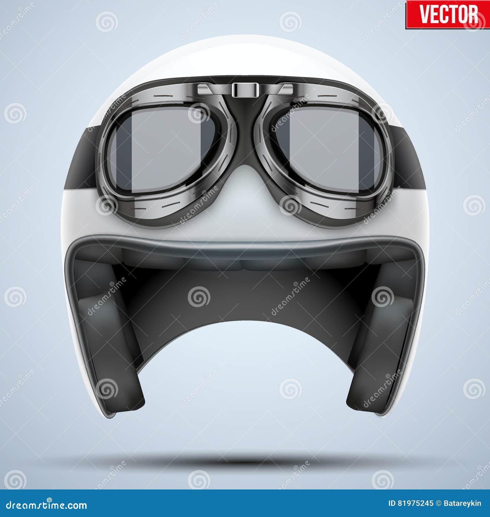 d74e8daa5955a Capacete Clássico Da Motocicleta Branca Com óculos De Proteção ...