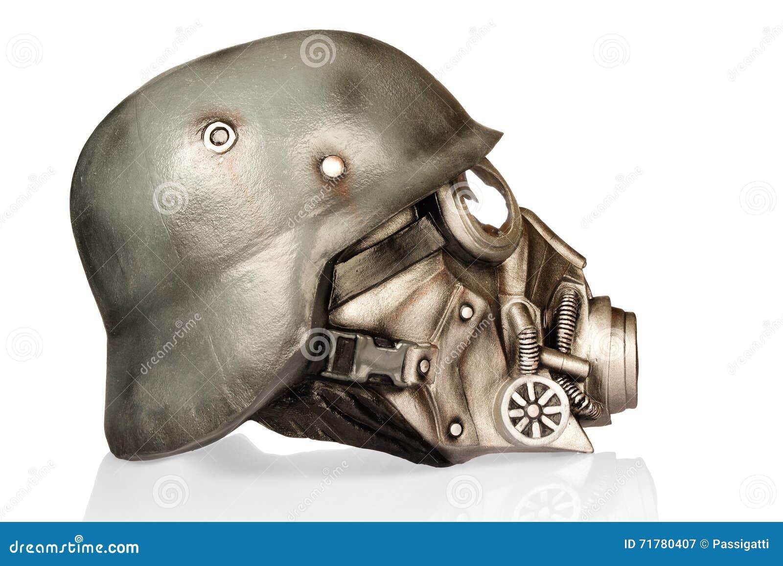 Capacete Militar Com óculos De Proteção E Máscara De Gás Imagem de ... 603ef7aa7e