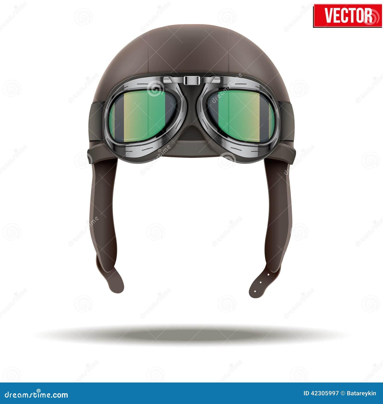6e5da6567 Capacete retro do couro do piloto do aviador com óculos de proteção Objeto  do vintage Ilustração do vetor No branco