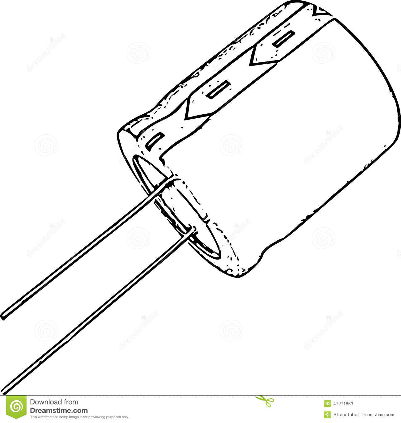 stock photo  capacitor line art drawing  image