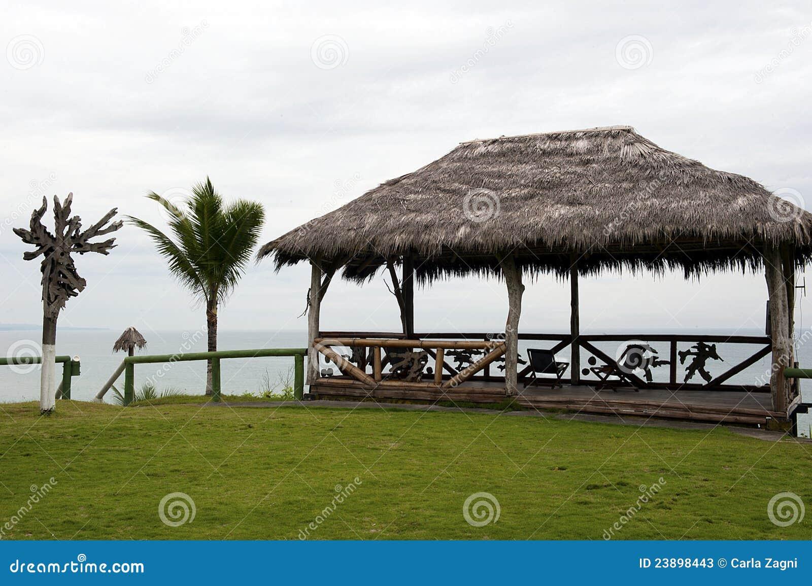 Capanna di legno con un tetto delle foglie di palma for Piani di progettazione tetto a capanna