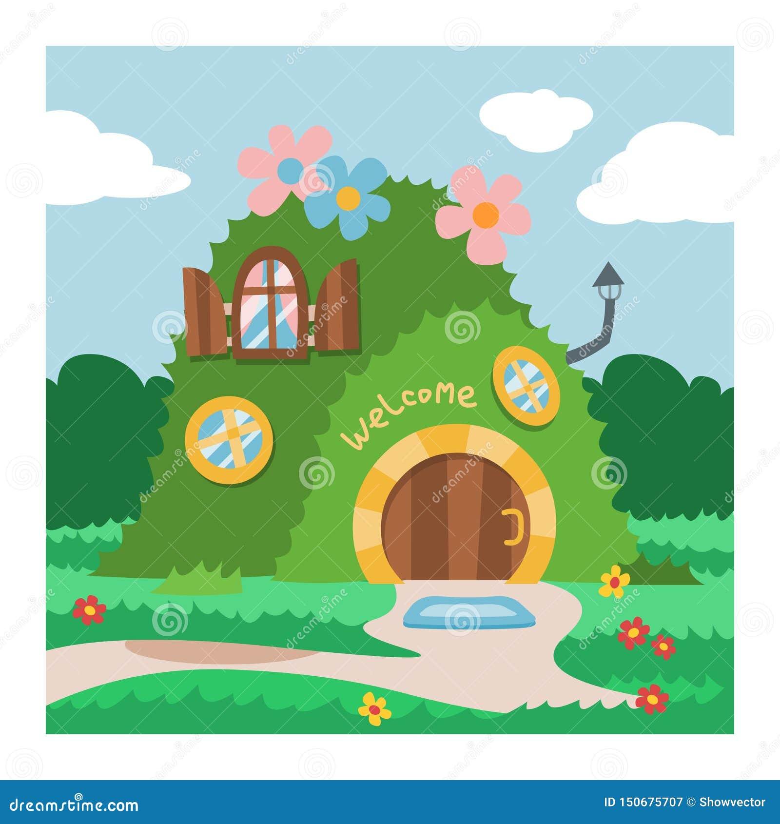 Capanna sugli alberi leggiadramente del fumetto di vettore della casa di gnomo di fantasia ed insieme d abitazione magico dell il