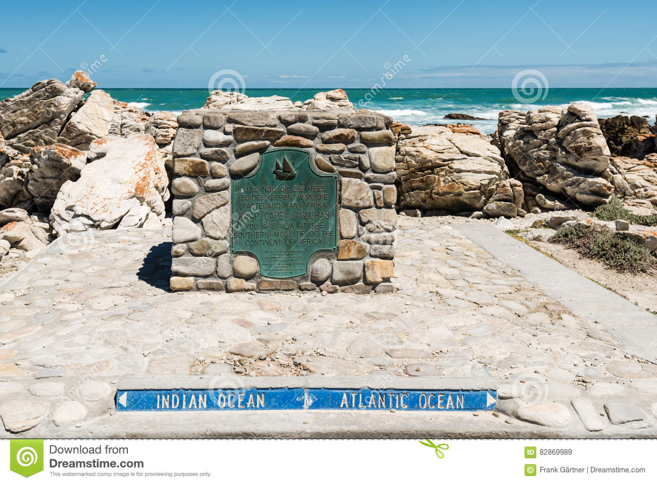 cape agulhas  the southernmost tip of africa where atlantic and indian oceans meet stock image