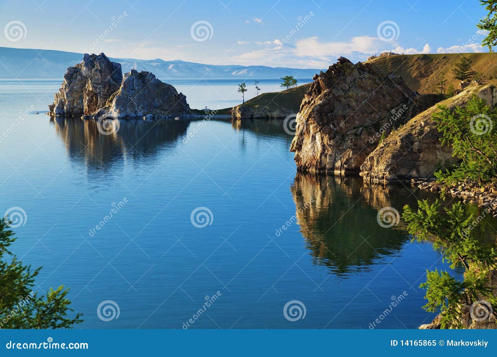 Cape Burhan and Shaman Rock at Baikal lake