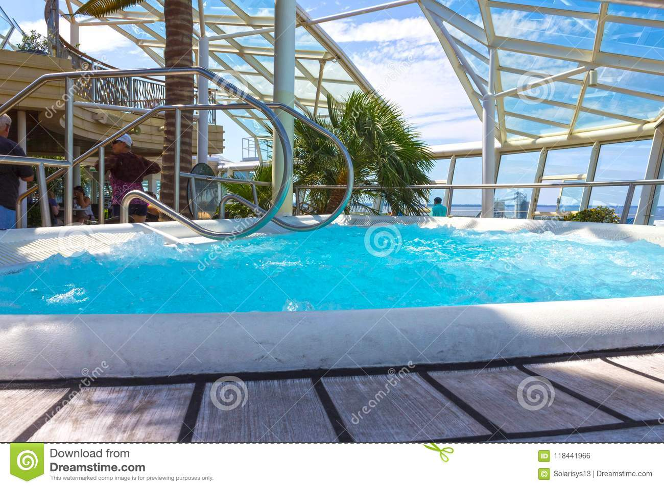 Cape Canaveral, USA - April 29, 2018: The People Rest In The Jacuzzi ...