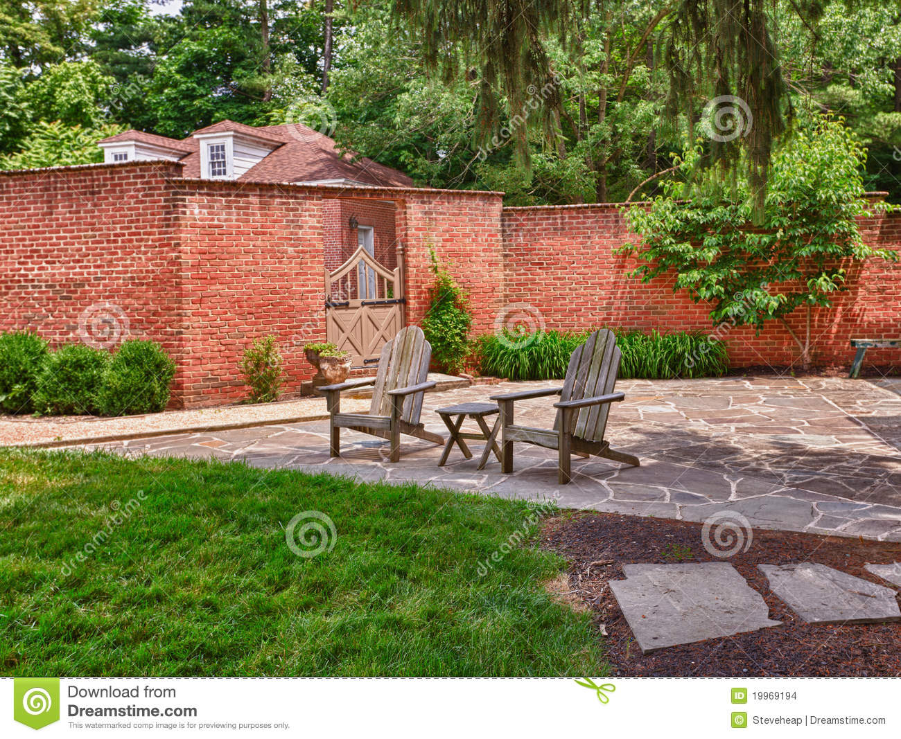 Cape Cod Chairs On Stone Patio Stock Images Image 19969194