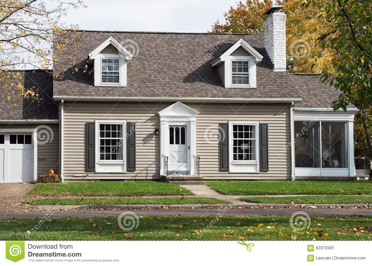 Cape cod house with screened in porch stock image image for House windows company