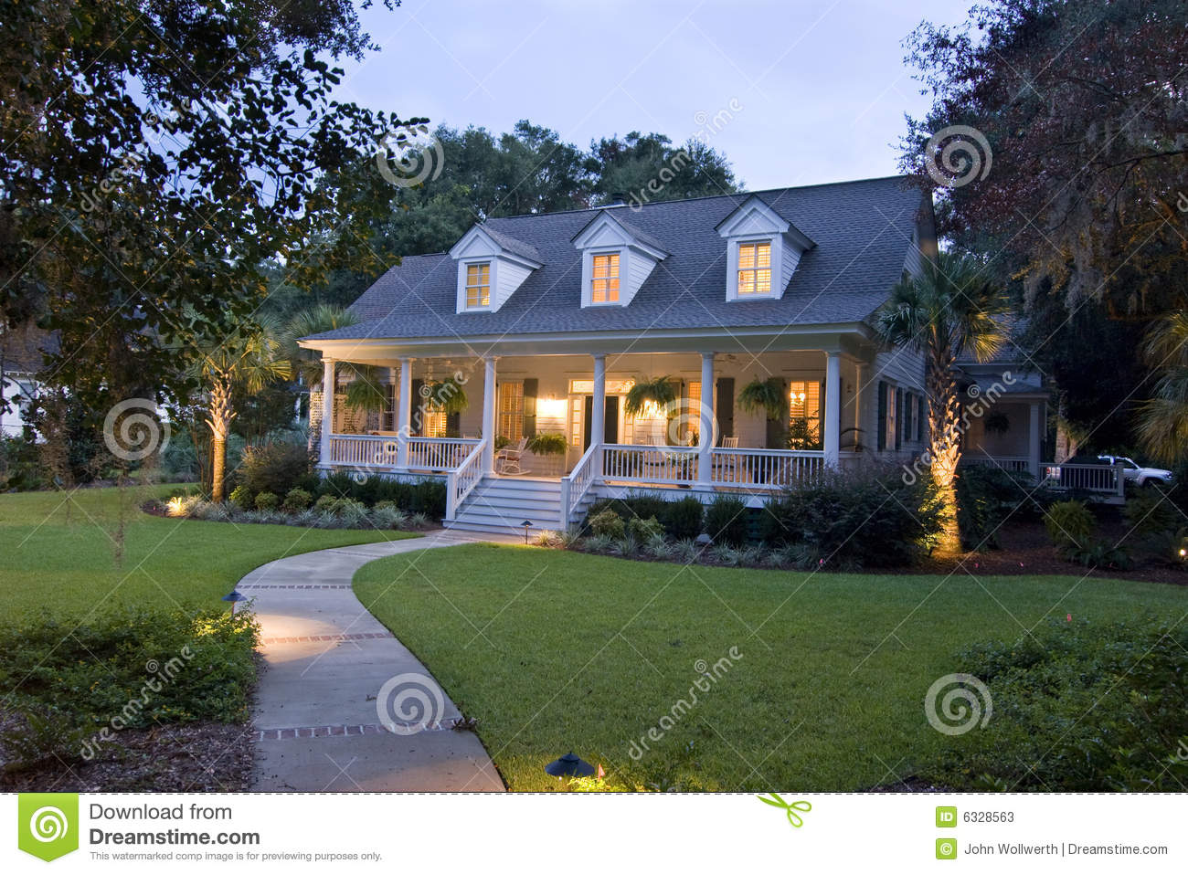 Cape Cod House At Twilight Stock Image Image Of House
