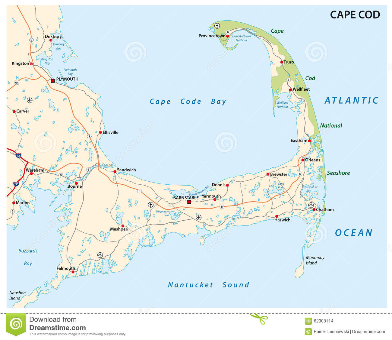 Cape cod map stock vector. Illustration of canal, cartography - 62308114