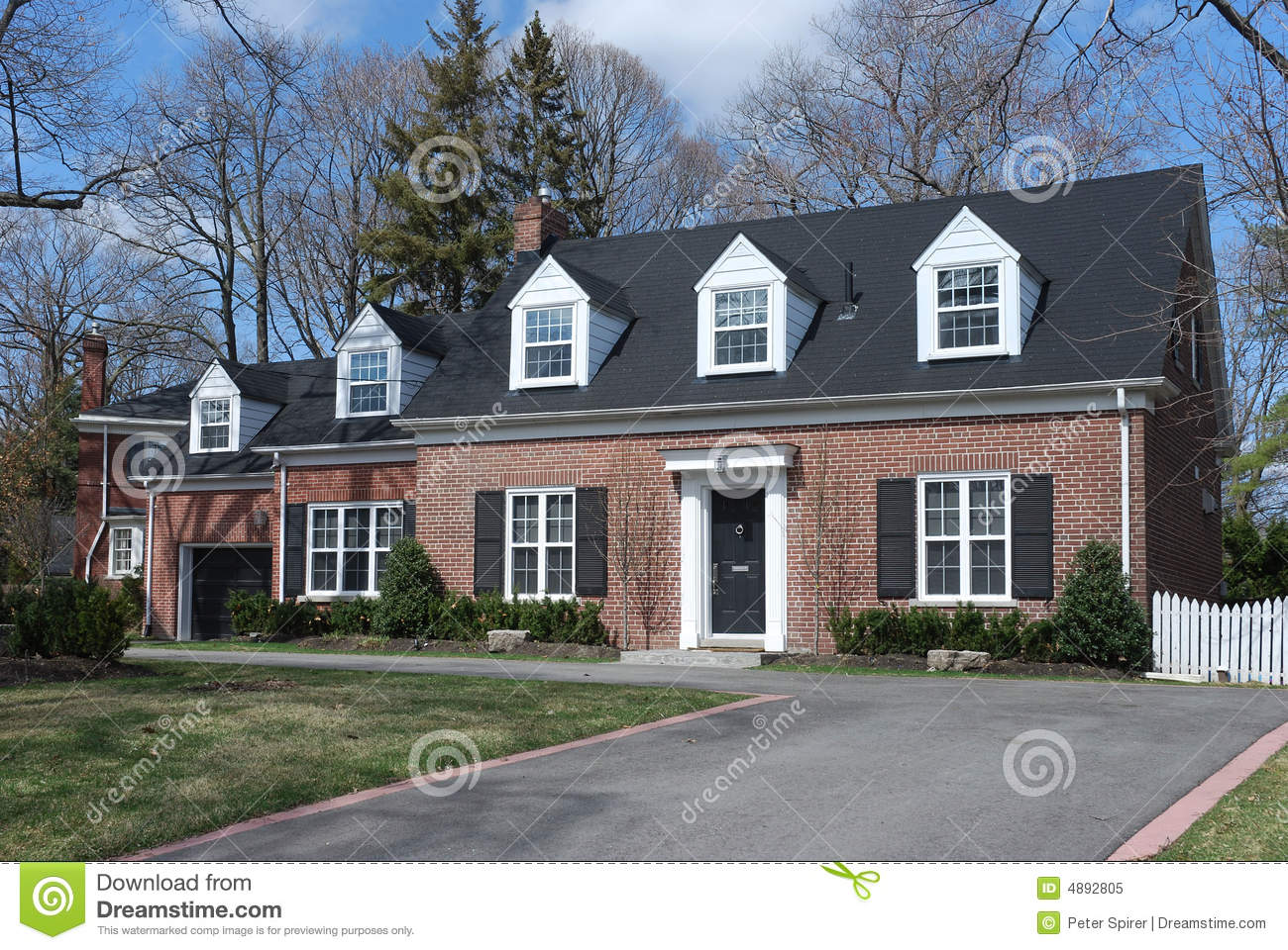 Cape cod style house stock image image of brick cape for Pictures of cape cod style homes