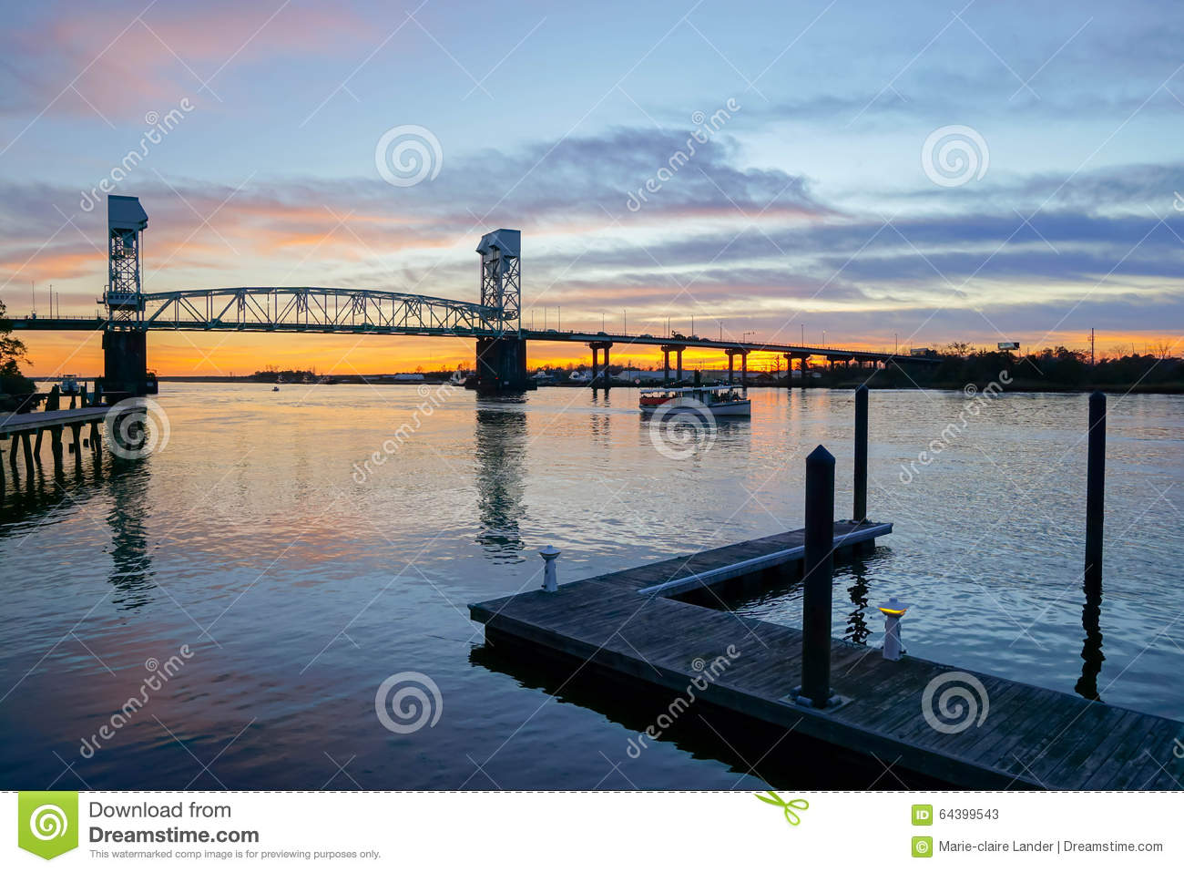 Cape Fear river bridge at sunset, Wilmington