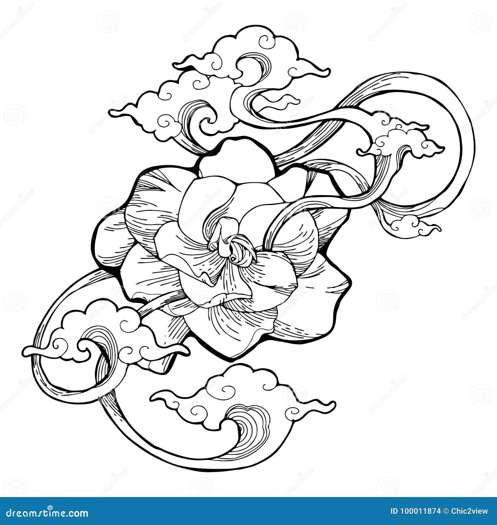 Cape jasmine gardenia jasmine and aroma cloud design by ink drawing cape jasmine gardenia jasmine and aroma cloud design by ink drawing tattoo with white isolated background izmirmasajfo Images