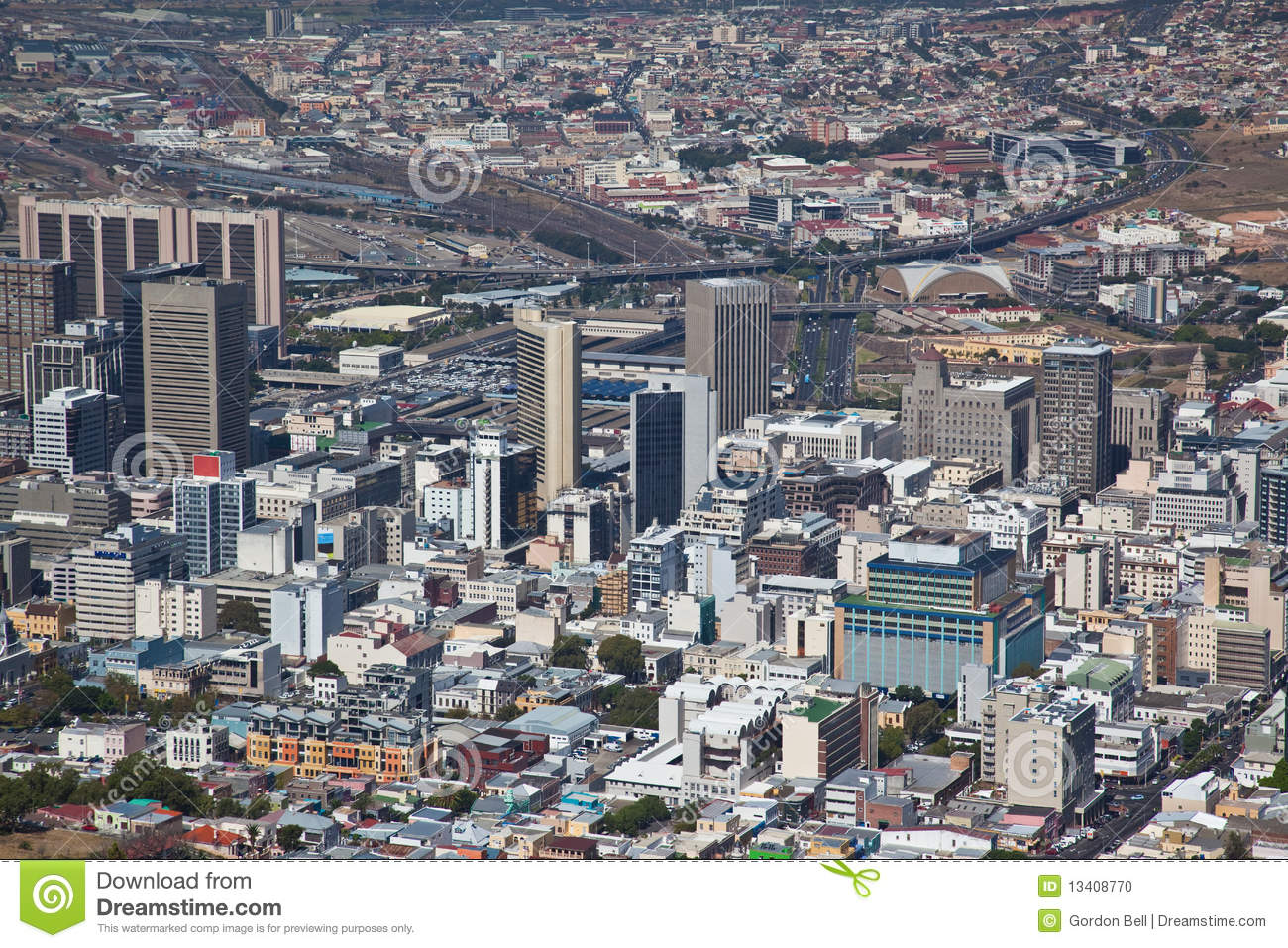 City Of Cape Town: Cape Town City Centre Viwed From Signal Point Stock Photo