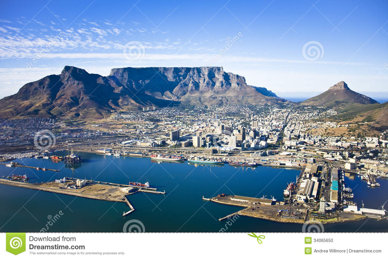 Cape Town Harbour And Table Mountain Stock Photo Image