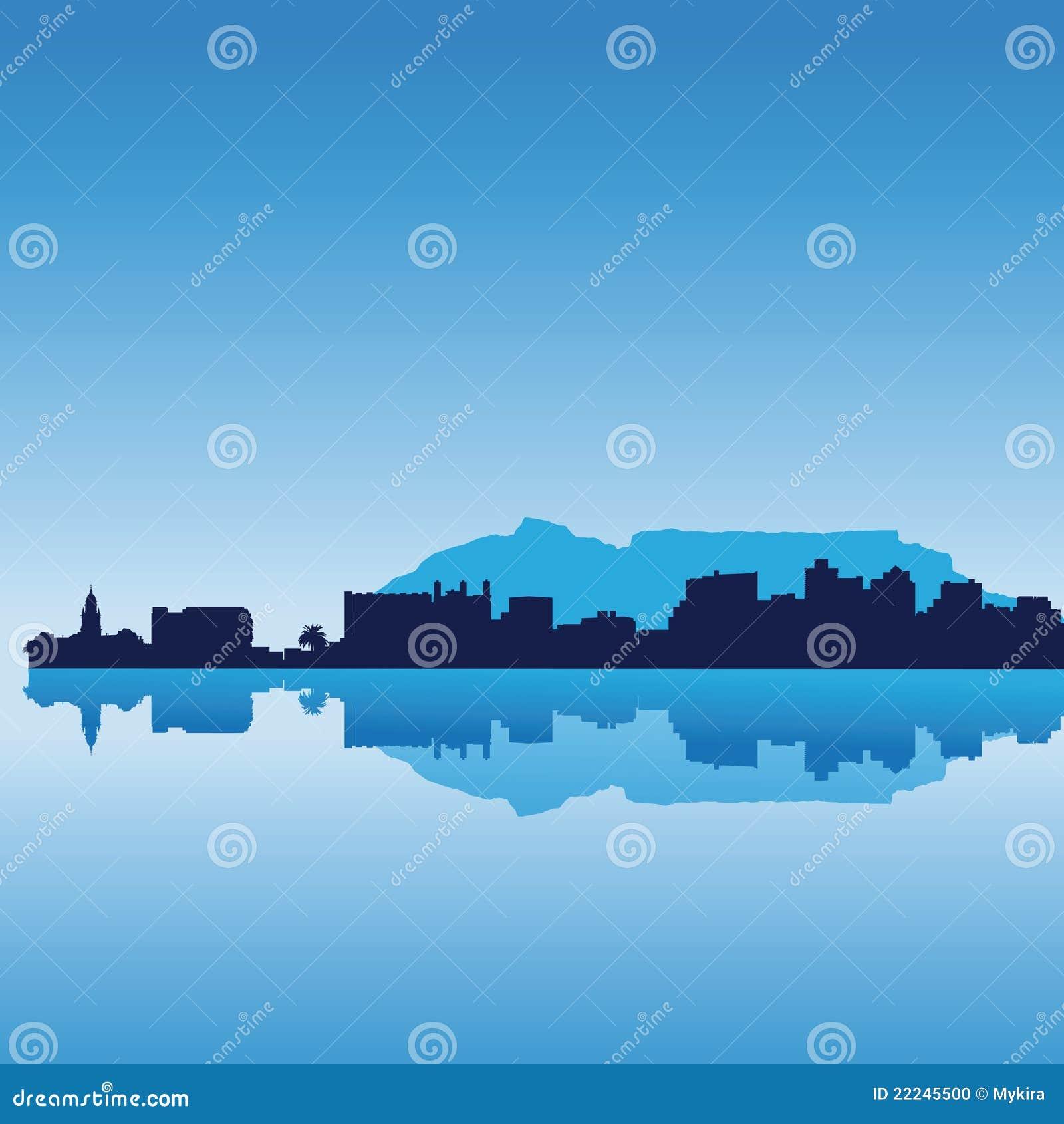 Download Cape Town Silhouette Skyline Stock Vector - Illustration of destination, kaapstad: 22245500